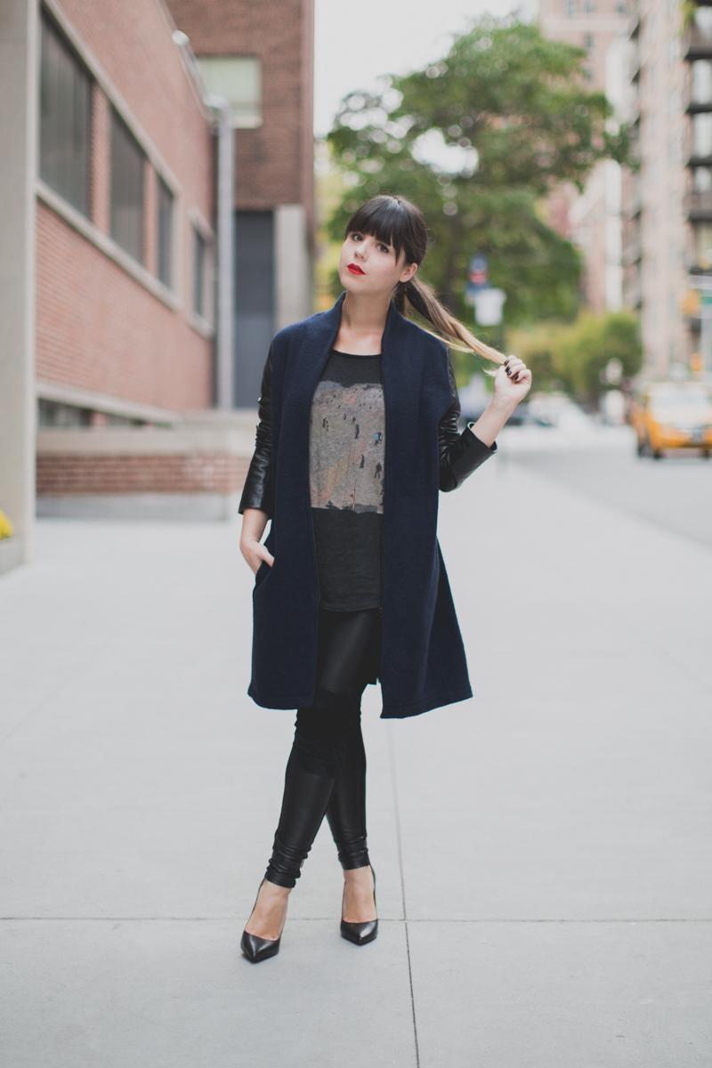 Berenice manteau legging cuir et daim paulinefashionblog.com  3 Leather