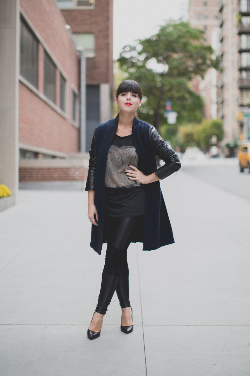 Berenice manteau legging cuir et daim paulinefashionblog.com  4 Leather