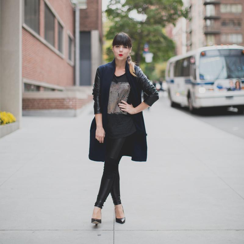 Berenice manteau legging cuir et daim paulinefashionblog.com  Leather