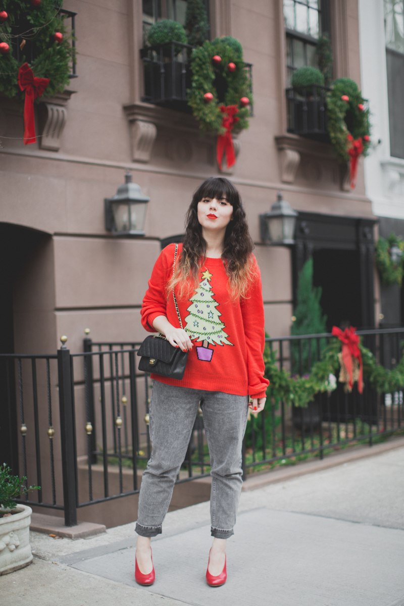 christmas sweater wildfox tree red - paulinefashionblog.com_-4