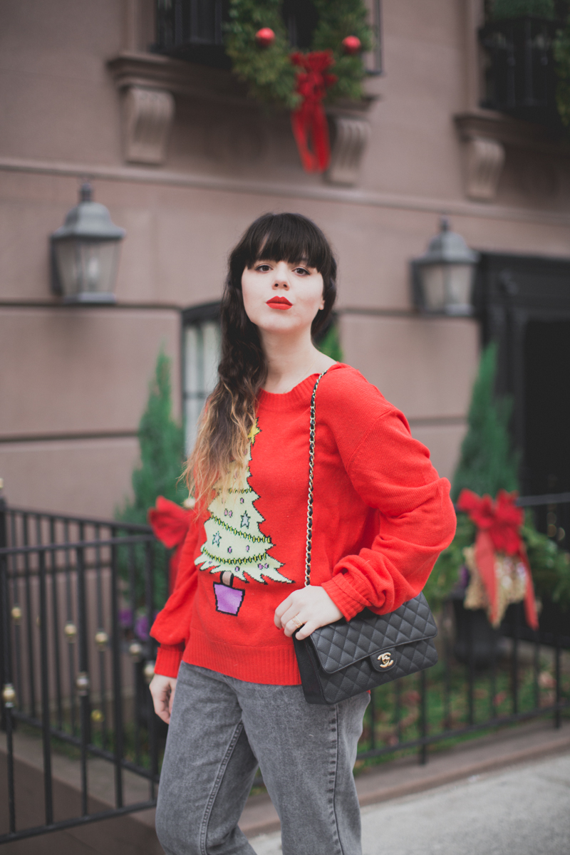 christmas sweater wildfox tree red paulinefashionblog.com  5 My Christmas Sweater