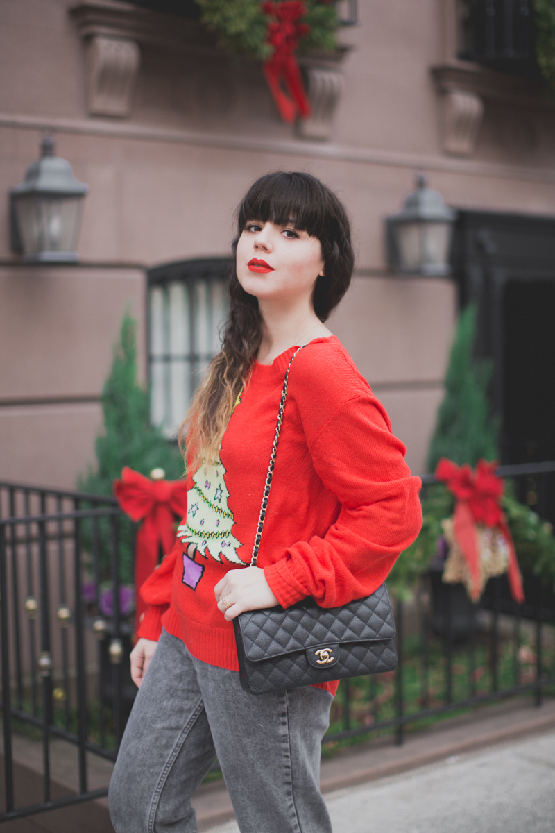 christmas sweater wildfox tree red - paulinefashionblog.com_-6