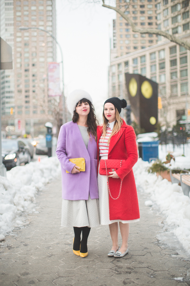 1 duo pauline emilie french bloggers streetstyle lincoln center white fur purple coat red chanel new york fashion week fw 2014 copyright paulinefashionblog.com  My NYFW Diary   DAY 3 : Lincoln Center Streetstyle