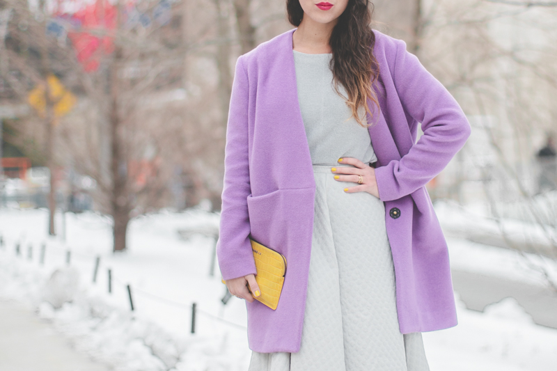 pauline blogger streetstyle lincoln center white fur purple coat new york fashion week fw 2014 copyright paulinefashionblog.com  2 My NYFW Diary   DAY 3 : Lincoln Center Streetstyle