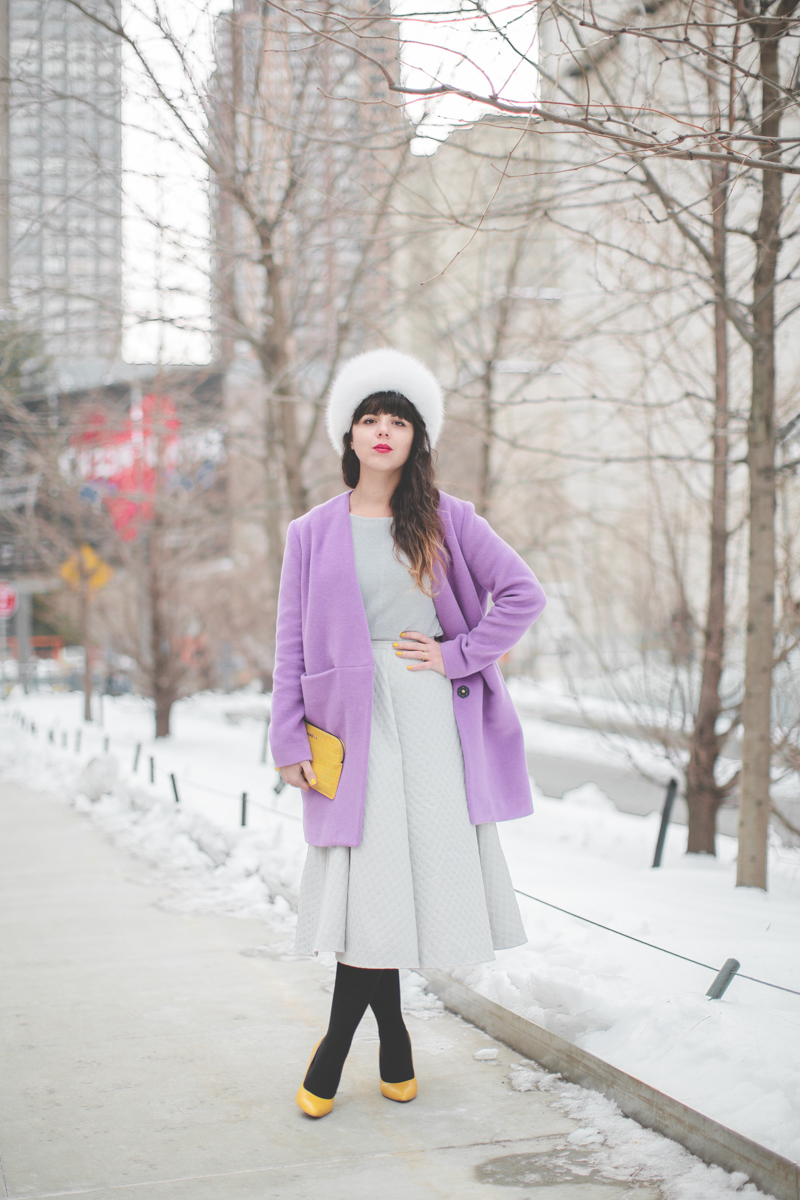 pauline blogger streetstyle white fur purple coat topshop new york fashion week fw 2014 copyright paulinefashionblog.com  2 My NYFW Diary   DAY 3 : Lincoln Center Streetstyle