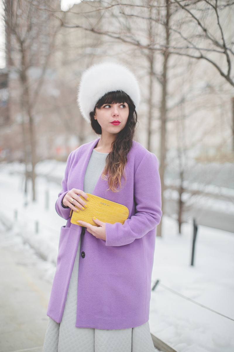 pauline blogger streetstyle white fur purple coat topshop new york fashion week fw 2014 copyright paulinefashionblog.com  3 My NYFW Diary   DAY 3 : Lincoln Center Streetstyle