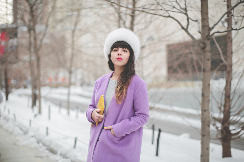 pauline blogger streetstyle white fur purple coat topshop new york fashion week fw 2014 copyright paulinefashionblog.com  6 My NYFW Diary   DAY 3 : Lincoln Center Streetstyle