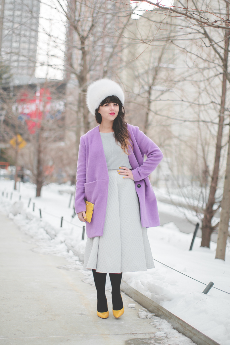 pauline blogger streetstyle white fur purple coat topshop new york fashion week fw 2014 copyright paulinefashionblog.com  My NYFW Diary   DAY 3 : Lincoln Center Streetstyle
