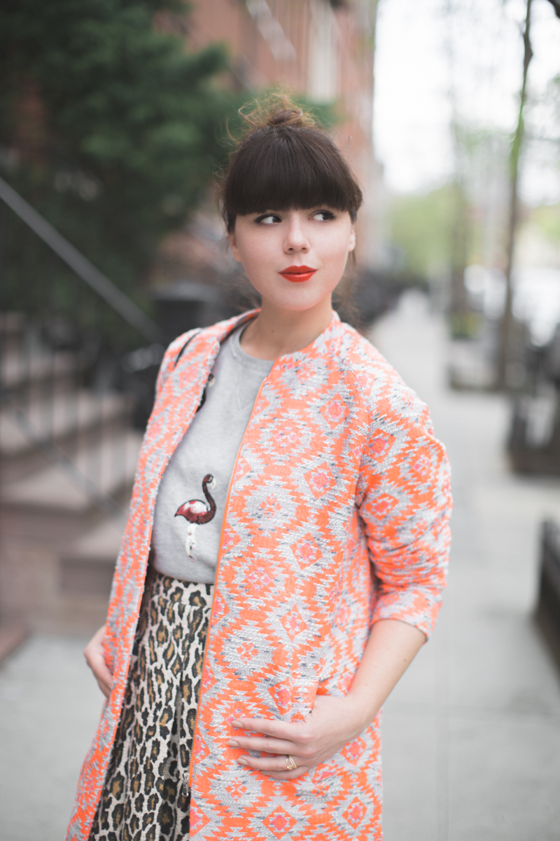 essentiel antwerp 1 neon orange coat flamingo sequins top - copyright paulinefashionblog.com_-22