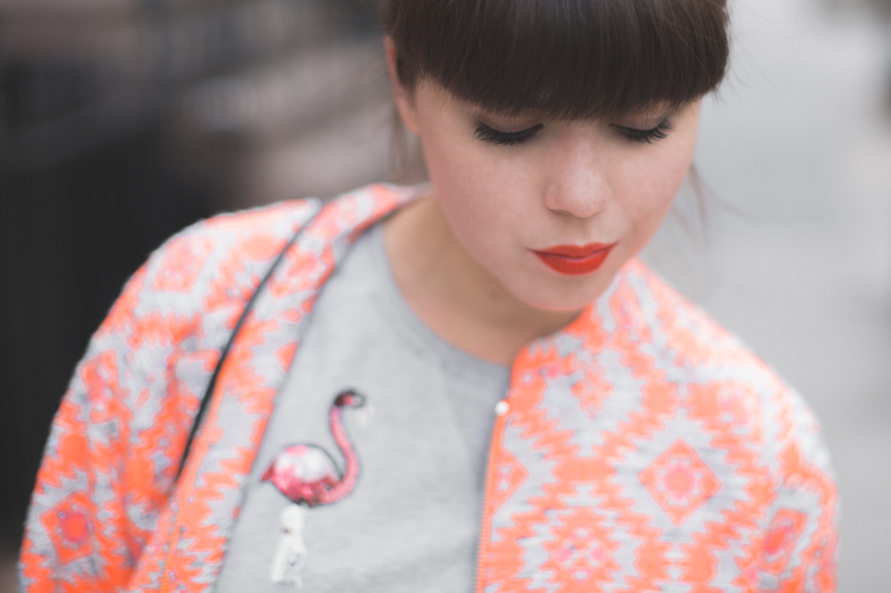 essentiel antwerp 1 neon orange coat flamingo sequins top - copyright paulinefashionblog.com_-9