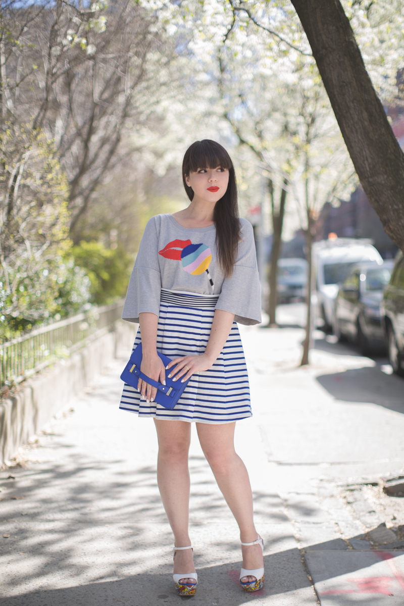 insta sonia by sonia rykiel lips moschino love wedges copyright paulinefashionblog.com  3 Stripes and Blooms