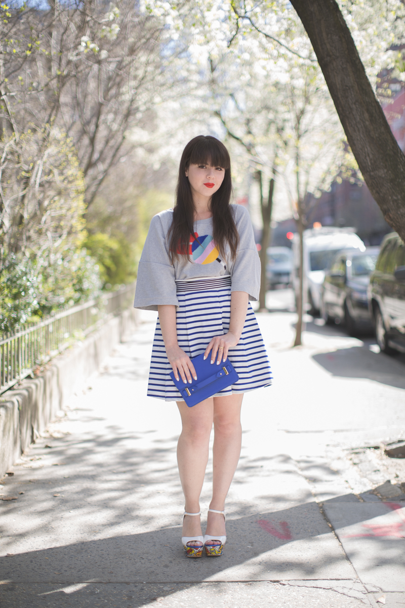 sonia by sonia rykiel lips moschino love wedges copyright paulinefashionblog.com  Stripes and Blooms