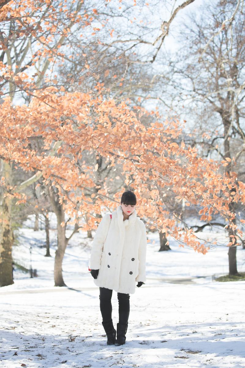 look central park neige doudoune gertrude paulette copyright paulinefashionblog.com  Les écureuils de Central Park sont tristes le lundi