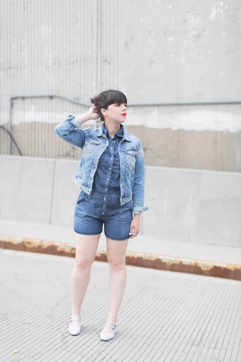 blog pepe jeans london total look demin blouson combishort jean copyright paulinefashionblog.com  800x1200 Blue Jeans