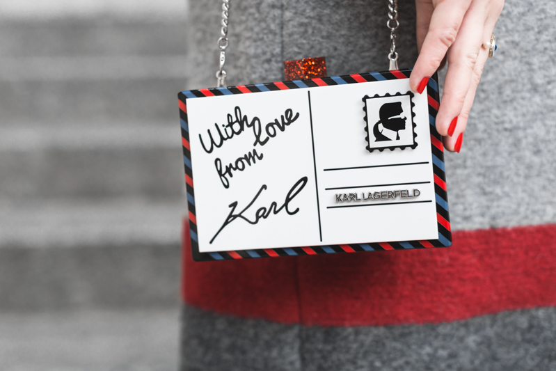 ikks manteau ligne rouge karl over the world postcard clutch photo credit paulinefashionblog.com 7 With love from Karl