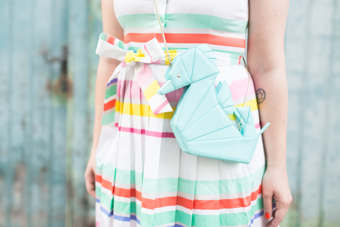 kate spade new york stripes dress seahorse origami bag - credit Pauline paulinefashionblog.com-8