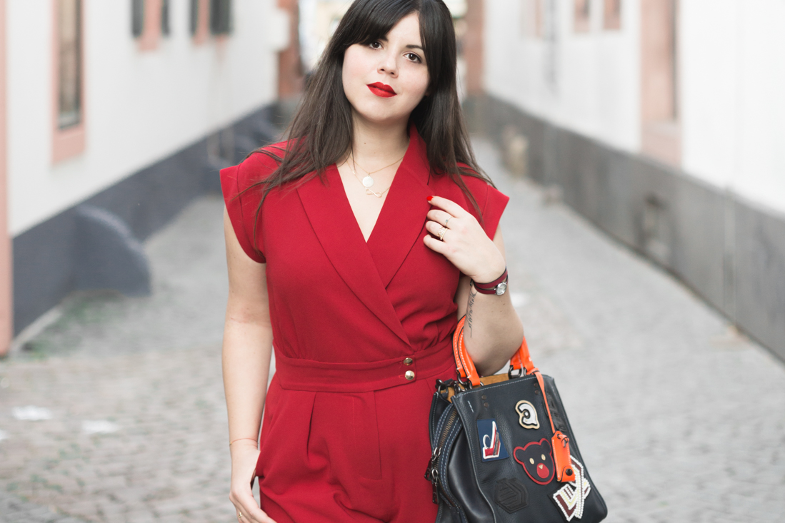 varsity rogue bag coach new york red jumpsuit valentina sezane marine copyright Pauline paulinefashionblog.com 6 Red is the new black !