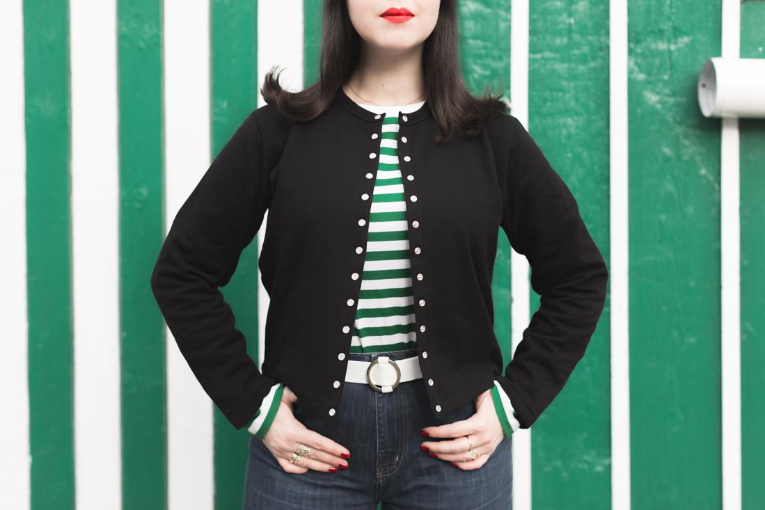 agnesb agnes b cardigan mariniere cire vichy copyright Pauline paulinefashionblog com 6 Green Stripes